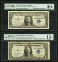 Error Notes:Mismatched Prefix Letters, Silver Certificate Mismatch Duo.. ... (Total: 2 notes)
