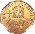 Ancients:Byzantine, Ancients: Theophilus (AD 829-842), with Constantine and Michael II.AV solidus (21mm, 4.39 gm, 5h)....