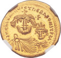 Ancients:Byzantine, Ancients: Heraclius (AD 610-641), with Heraclius Constantine (AD 613-641). AV solidus (21mm, 4.48 gm, 6h)....