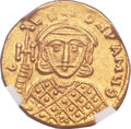 Ancients:Byzantine, Ancients: Constantine V Copronymus (AD 741-775), with Leo IV (AD751-775). AV solidus (20mm, 4.51 gm, 6h)....