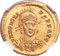 Ancients:Roman Imperial, Ancients: Honorius, Western Roman Emperor (AD 393-423). AV solidus(20mm, 4.44 gm, 6h). ...