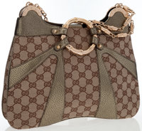 Gucci by Tom Ford Beige Monogram Canvas & Green Metallic Leather Hobo Bag