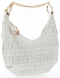 Luxury Accessories:Bags, Fendi White Perforated Leather Hobo Bag. ...