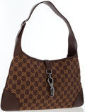Luxury Accessories:Bags, Gucci Brown Monogram Canvas & Leather Jackie Bag. ...