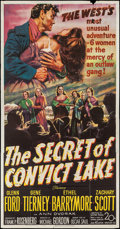 "Movie Posters:Western, The Secret of Convict Lake (20th Century Fox, 1951). Three Sheet (41"" X 79""). Western.. ..."