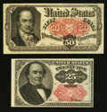 Fractional Currency:Fifth Issue, Fr. 1309 25¢ Fifth Issue About New. Fr. 1381 50¢ Fifth IssueFine-VF.. ... (Total: 2 notes)