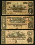 Confederate Notes:1864 Issues, Three Different 1864 Notes.. ... (Total: 3 notes)