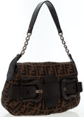 Luxury Accessories:Bags, Fendi Classic Zucca Monogram Canvas Shoulder Bag. ...