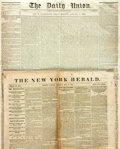 """Miscellaneous:Newspaper, [Slavery and the Civil War]. Two Newspapers including: The NewYork Herald. Eight pages, 16"""" x 23"""", May 30, 1861. Wi..."""