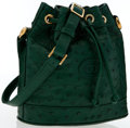 Luxury Accessories:Bags, Gucci Green Ostrich Bucket Bag. ...