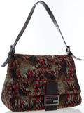 Luxury Accessories:Bags, Fendi Red & Green Zucca Monogram Canvas Falcon Shoulder Bag....