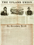 """Miscellaneous:Newspaper, [John Brown]. Two Newspapers including: The Upland Union.Four pages, 21"""" x 29.25"""", Media [Pennsylvania], December 1..."""