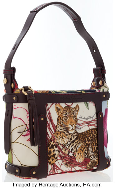 2beae2d1d21d Salvatore Ferragamo Multicolored Canvas Jungle Print Shoulder