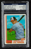 Autographs:Sports Cards, Signed 1982 Topps Traded Cal Ripken Jr. Rookie #98T PSA/DNA Authentic. ...