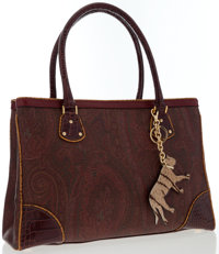 Etro Red Paisley Canvas Tote Bag
