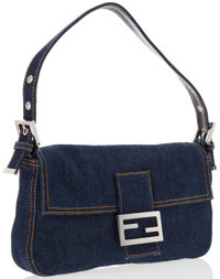 Fendi Blue Denim Baguette Bag