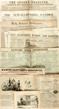 Miscellaneous:Newspaper, Seven Nineteenth Century Newspapers including: Newark DailyAdvertiser. October 9, 1871. [and:] The New-Hampshir...