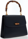 Luxury Accessories:Bags, Gucci Navy Blue Leather Bamboo Top Handle Bag . ...