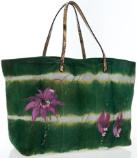 Fendi Limited Edition Green Suede Floral Tote Bag