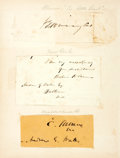 Autographs:Statesmen, Four Nineteenth Century Politicians' Signatures including WilliamH. Seward, secretary of state under President Lincoln;...