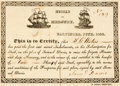 "Miscellaneous:Ephemera, Hussar and Mercury Stock Certificate. Onepartially-printed page, 7"" x 5.25"", Baltimore, June 1822, cert..."