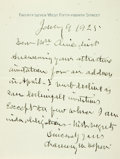 "Autographs:Statesmen, Chauncey M. Depew Autograph Letter Signed. One page of a bifolium,4.5"" x 6"", [New York], January 9, 1925, declining an invi..."