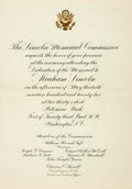 "Miscellaneous:Ephemera, [Abraham Lincoln]. Invitation of the Lincoln Memorial Commission.One page of a bifolium, 6.75"" x 9.75"", Washington, May 23,..."