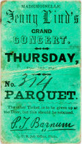 """Miscellaneous:Ephemera, [Jenny Lind]. Concert Ticket Stub. 1.5"""" x 3"""", December 12, 1850.This green stub allowed admittance to a grand concert of op..."""