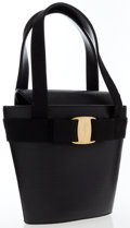 Luxury Accessories:Bags, Salvatore Ferragamo Black Lizard Embossed Leather Vara Bow ToteBag. ...