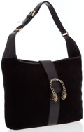 Luxury Accessories:Bags, Gucci Black Suede Hobo Bag with Gold Tiger Hardware. ...