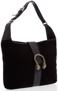 Gucci Black Suede Hobo Bag with Gold Tiger Hardware