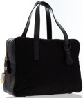 Luxury Accessories:Bags, Prada Black Tessuto & Black Crocodile Bowling Bag. ...