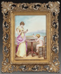Decorative Arts, Continental:Other , A GERMAN PAINTED PORCELAIN FRAMED PLAQUE, circa 1890. Marks:ATW. 14 x 11-1/2 inches (35.6 x 29.2 cm). FROM THE ESTATE...