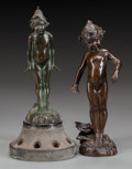 Bronze:European, TWO EDWARD BERGE ART NOUVEAU BRONZE NYMPHS. Art NouveauWildflower and Lily Pad Girls (two works), circa 1900. 8-1/2...(Total: 2 Items)