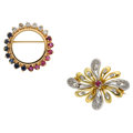 Estate Jewelry:Lots, Diamond, Ruby, Sapphire, Gold Brooches. ... (Total: 2 Items)