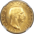 Italy, Italy: Vittorio Emanuele III gold 100 Lire 1936-R Anno XIV MS67NGC,...