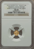 California Gold Charms, 1915 Minerva, Bear, Round, California Gold 1/4, MS68 NGC....