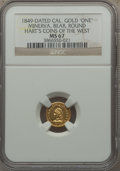 """California Gold Charms, """"1849"""" Minerva, Bear, Round, California Gold One, MS67 NGC...."""