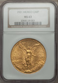 Mexico, Mexico: Republic gold 50 Pesos 1921 MS63 NGC,...