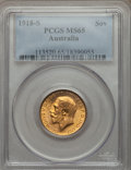 Australia, Australia: George V gold Sovereign 1918-S MS65 PCGS,...