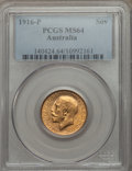 Australia, Australia: George V gold Sovereign 1916-P MS64 PCGS,...