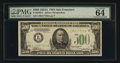 Small Size:Federal Reserve Notes, Fr. 2202-L $500 1934A Federal Reserve Note. PMG Choice Uncirculated 64 EPQ.. ...