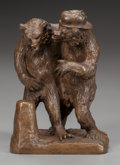 Bronze:European, A CONTINENTAL BRONZE GROUP OF TWO BEARS, circa 1900. Marks: K ER N. 5 inches high (12.7 cm). FROM THE ESTATE OF RICHA...