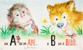 Books:Original Art, Watercolor Rough for Animal ABC. Circa 1957. Signed by Williams. Measures 13 x 7.75 inches. Center vertical fold...