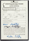Hockey Collectibles:Others, 1974 Wayne Gretzky Pee-Wee Hockey Player's Certificate Signed Six Times....