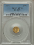California Fractional Gold , 1874 50C Indian Round 50 Cents, BG-1071, R.7, AU55 PCGS....