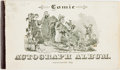 Miscellaneous:Ephemera, Comic Autograph Album. Lynn: J.F. Ingalls, 1880. Publisher'spictorial printed wrappers. Oblong thirty-twomo. Unmarked. Some...
