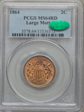 1864 2C Large Motto MS64 Red PCGS. CAC....(PCGS# 3578)