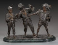 Sculpture, ITALIAN BRONZE GROUP OF THREE BOYS BY FRANCESCO MATTEIS. Circa 1880, 13 inches (33.0 cm). Inscribed with foundry mark: De ...