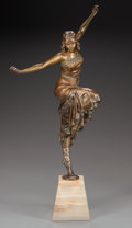 Bronze:European, PAUL PHILLIPE PATINATED BRONZE DANCER. Circa 1925; Marks: P.PHILIPPE. 18-1/2 inches (47.0 cm) high on a 4-1/2 inches (1...